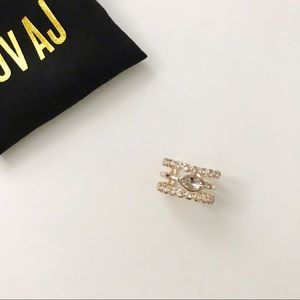 LUV AJ Rose Gold Marquise Crystal Statement Ring